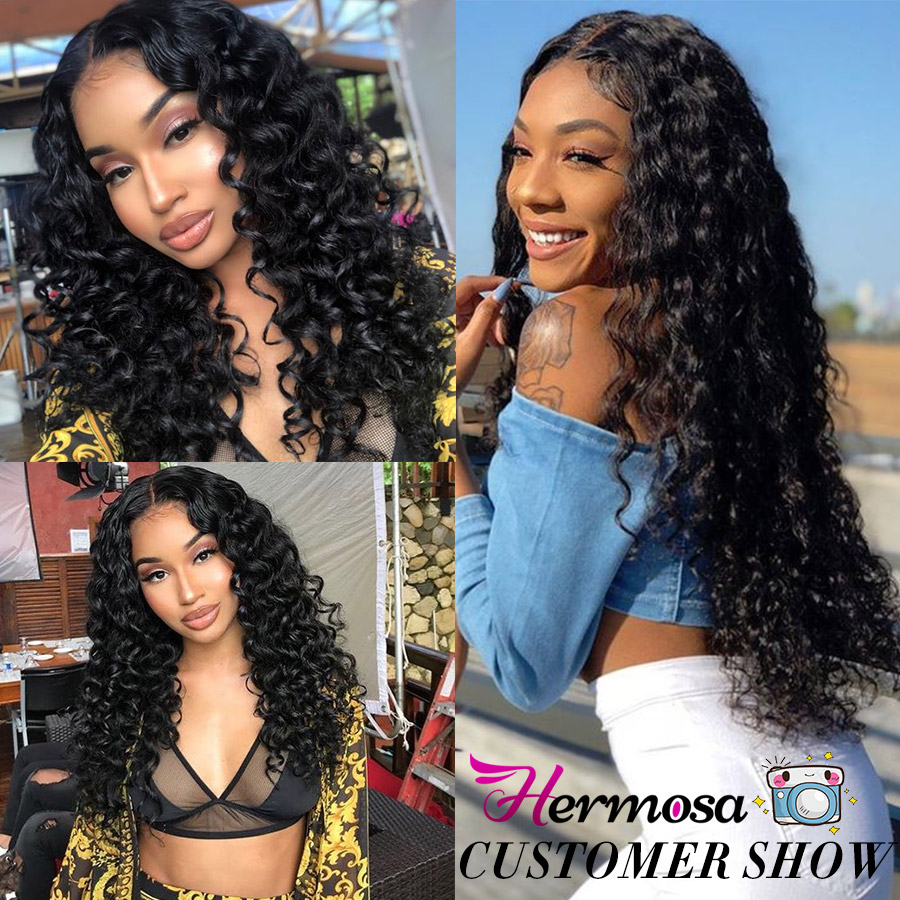 Hermosa Brazilian Deep Wave Bundles With Closure Double Weft Non-Remy Human Hair Bundles With Closure Natural Black Middle Ratio