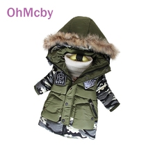 OhMcby Cold Winter Boys Hooded Parka Child Winter Jackets Children Down Jackets Coats Kids Baby Thicken Warm Cotton Down Jacket