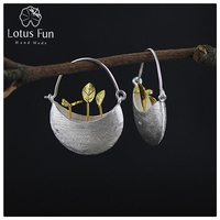 Lotus Fun Real 925 Sterling Silver Natural Creative Handmade Fine Jewelry My Little Garden Drop Earrings