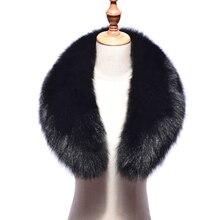 Новинка, Воротник из натурального Лисьего меха, женский шарф из натурального Лисьего меха, зимний теплый меховой воротник-шарф черного цвета