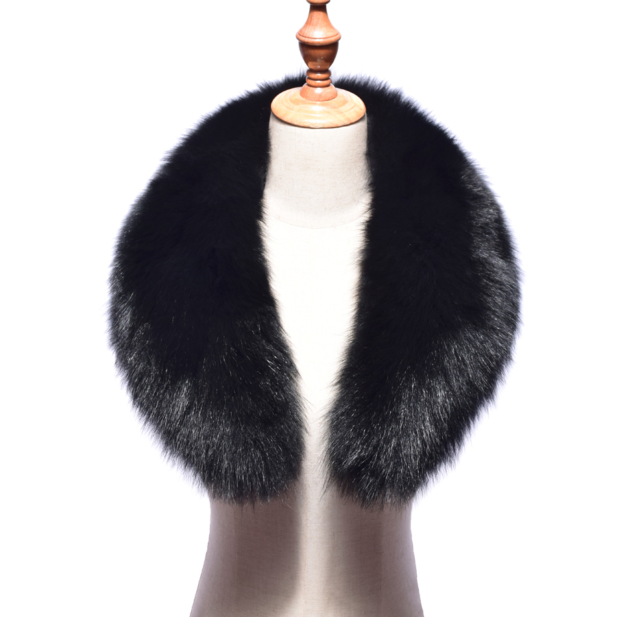 2018 New Real Fox Fur Collar Women 100% Natural Fox Fur Scarf Winter Warm Fur Collar Scarves Black