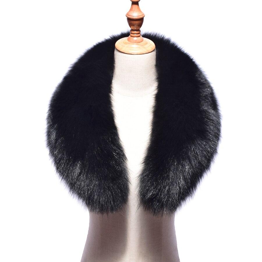 2018 novo gola de pele de raposa real feminino 100% natural cachecol de pele de raposa inverno quente gola cachecóis preto