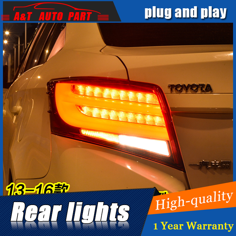 Car Styling LED Tail Lamp for Toyota Vios Tail Lights 2014-2015 for Vios Rear Light DRL+Turn Signal+Brake+Reverse LED light for vw volkswagen polo mk5 6r hatchback 2010 2015 car rear lights covers led drl turn signals brake reverse tail decoration