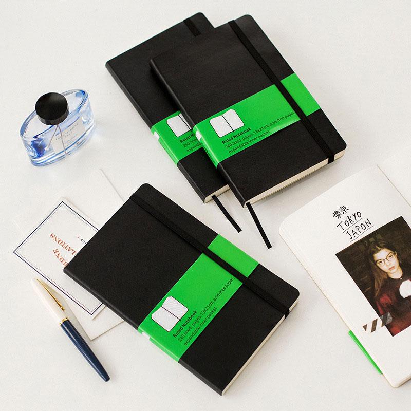 कोरियाई स्टेशनरी क्लासिक हार्डकवर नोटबुक फाइन बैंडेज प्लानर नोटबुक 3 किंड इनर ब्लैंक ग्रिड क्षैतिज रेखा, A5