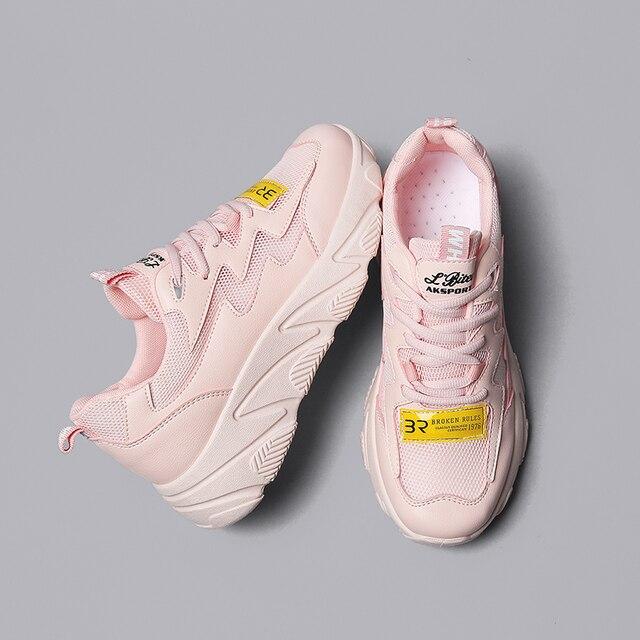 a70e4f76a960d 2019 Yaz Yeni Trendy platform ayakkabılar Kadın Örgü Nefes Tıknaz Sneakers  Moda Eğlence Vulkanize Ayakkabı