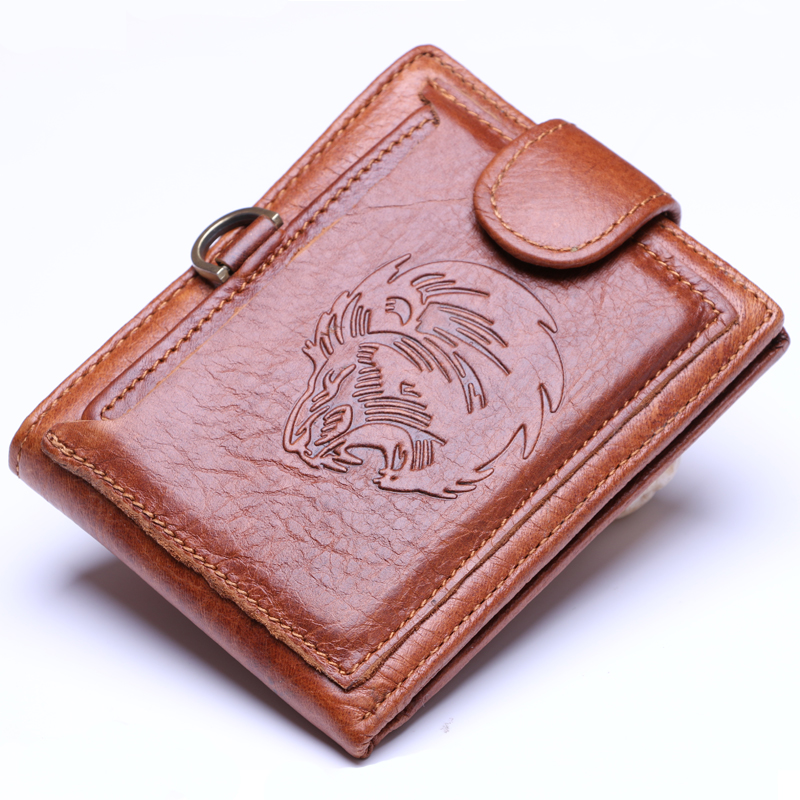 Designer Vintage Handmade 100% Genuine  Leather  Men Wallet Purse Card Holder With Zipper Wallets Men The lion pattern ms brand men wallets dollar price purse genuine leather wallet card holder designer vintage wallet high quality tw1602 3