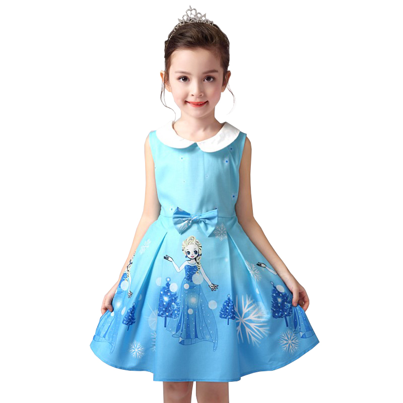 Cotton Sleeveless Summer Dress Grils Clothes Cartoon Children Costume Clothing Girl Princess Dresses Kids Birthday Party New free shipping 2016 summer kids girl dress princess dresses cartoon the black cat costume children toddler clothes top sale
