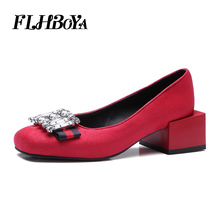 Lady Fashion High Thick Heels Crystal Yellow Red Black Round toe Pumps Chunky Square Heel Travel Party Shoes For Women Plus Size women platform heels red high heel pumps round toe chunky heel ankle strap dress heels black suede ladies summer shoes plus size