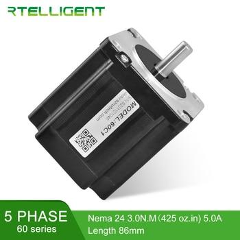 Rtelligent 5-lead 5Phase Nema23 24 Stepper Motor 60 Series 0.72 Degree 60 Motor 21mm 0.75A for CNC Kit Engraving Milling Machine