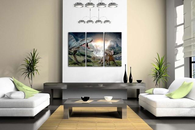 3 Panels Dinosaurs Patterned Wall Print