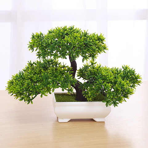Bonsai Artificial Plant With Plastic Pots Simulation Plant Set Decoration Home Table Accessories Office Hotel Living Room Decor