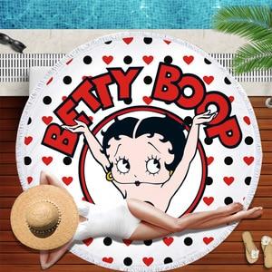 Image 3 - Betty boop okrągły ręcznik plażowy dla dorosłych piękne ręczniki z mikrofibry Serviette de plage Toalla koc frędzle gobelin mata plażowa