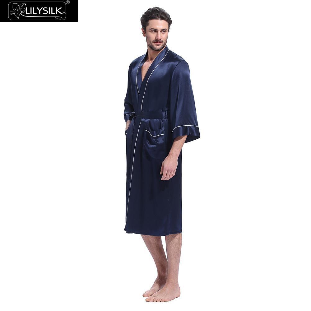 Lilysilk Robe Male Pure Silk Chinese Bathrobe Sleepwear Kimono White Trimmed Three Quarter Sleeve Belt Inside