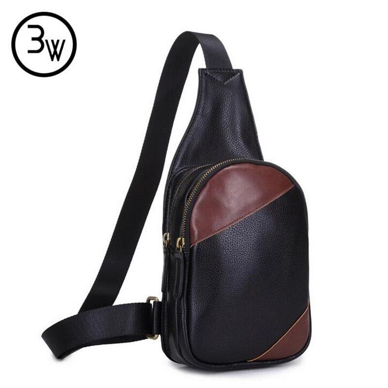 Famous Designer Purses and Handbags 2016 Men s Leather Vintage Shoulder Messenger Unbalance Sling Chest Bag
