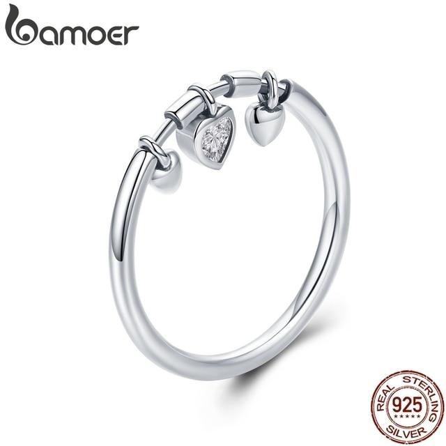 BAMOER MẠ Bạc 925 Lấp Lánh Trái Tim Trong Suốt CZ Anel Nhẫn Nữ Nữ Cưới Đính Hôn Trang Sức SCR215