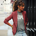 2017 New Spring Autumn Women Blazers Casual Slim Plaid Jacket Womens Long Sleeve Small Short Suit Single Button Coat S037