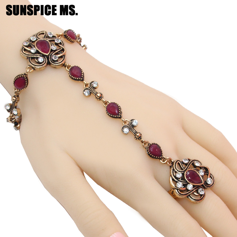 Sunspicems Vintage Turkish Link Bracelet Rings For Women Antique Gold Color Bijoux Hand Back Chain Indian Flower Jewelry Gift