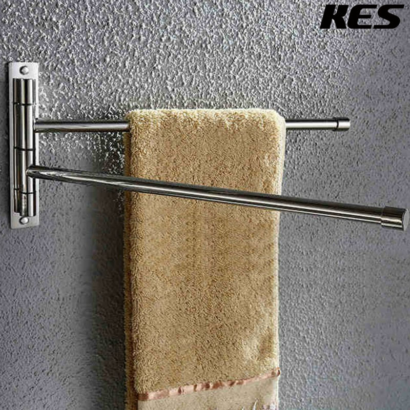 Kes Bathroom Swing Arm Towel Bars 2 Arm Wall Mount Swing