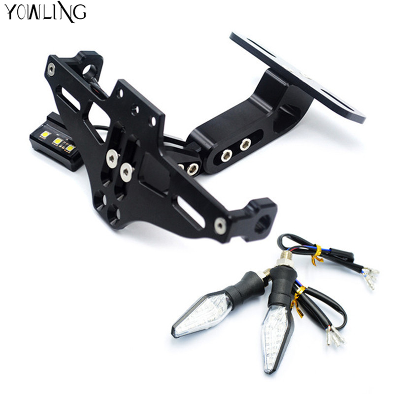 Motorcycle Adjustable License Number Plate Frame Holder Bracket with light For KTM benelli bn600 bn300 bj300 bj250 BJ600 BNT300 motorcycle tail tidy fender eliminator registration license plate holder bracket led light for ducati panigale 899 free shipping
