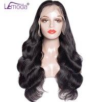 Lemoda 360 Кружева Фронтальная парик бразильского объемная волна натуральные волосы парики для черный Для женщин предварительно сорвал с волос