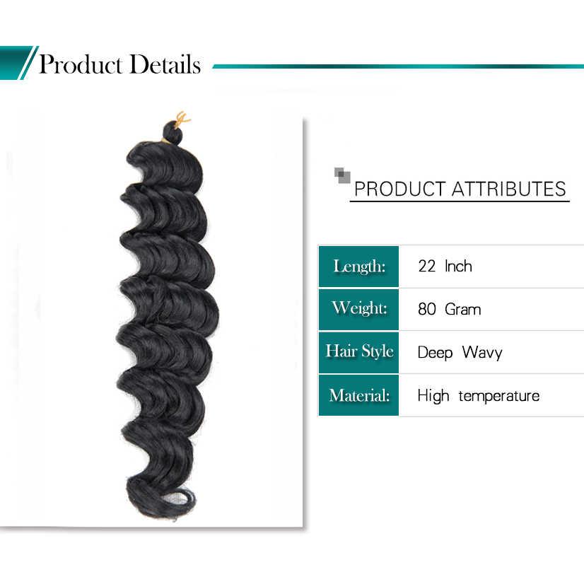 Synthetic Bulk Hair Crochet Hair Braids Box Braid 22 Inch Curly Extension Deep Wave Crochet Hair For Black Women