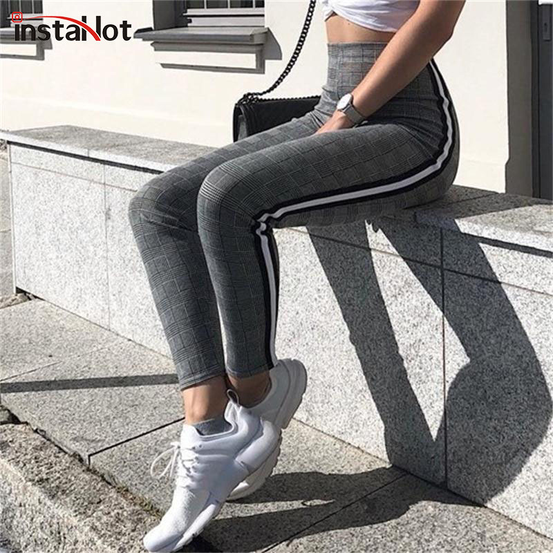 InstaHot Elastic Stretchy Side Striped Plaid Pencil Pants Women Casual Autumn Women Trousers Elastic Waist Tweed