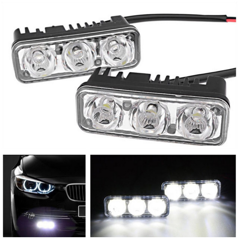 1 Pair Warterproof Car Daytime Running Lights 12V LED Fog Light Super Bright 6000K DRL Lamps For