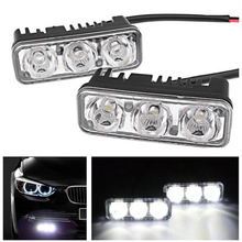 2pcs Car Lights Warterproof LED Daytime Running 12V Fog Light Super Bright 6000K DRL Lamps For
