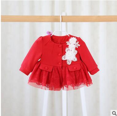 2016 Nova Primavera Outono Casaco Bebê Menina Vestido Vestido de Princesa 100% Da Menina do Algodão Rendas Jaqueta Frete Grátis