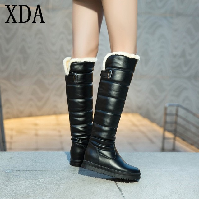 8dd8a536ec3 XDA 2019 Russia winter women shoes warm knee high boots round toe down fur  ladies fashion thigh snow boots waterproof long boots