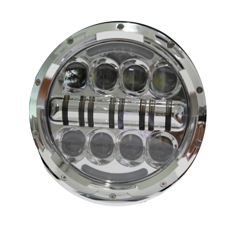 1PCS 7 80W Headlamp Led Headlight with DRL For Jeep Wrangler Jk Tj Fj Harley Off Road Lights High Low Beam New Free Shipping