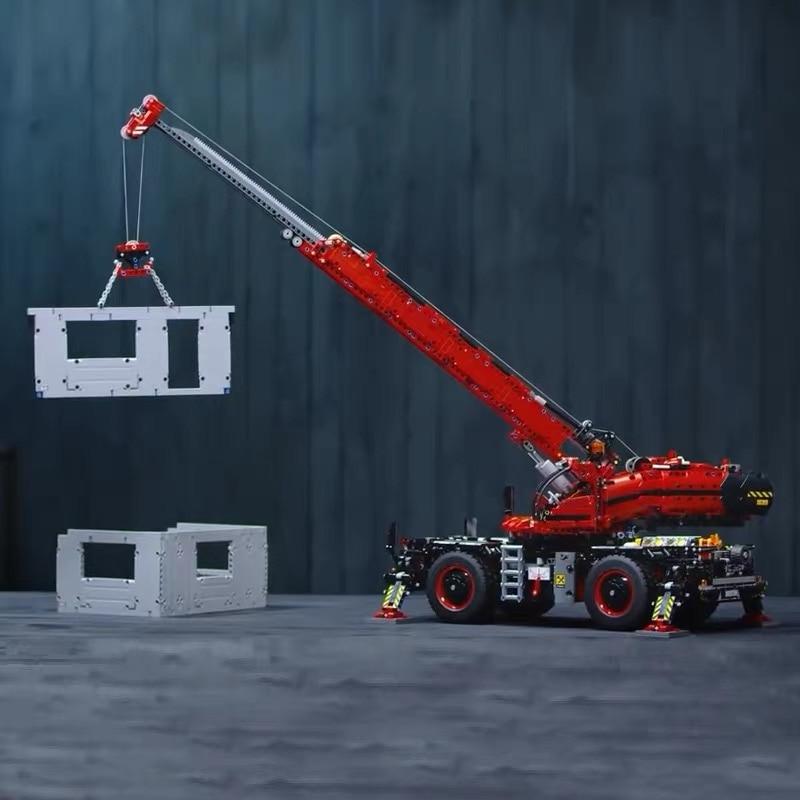 2018 Lepin 20085 Technic Rough Terrain Crane Compatible Legoingly 42082 Building Blocks Bricks Educational Toys With Battery Box lepin technic 20085 legoingly 42082 rough terrain crane model set building blocks bricks educational toys for children christmas