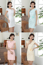 Shanghai Story embroidery Qipao Chinese traditional dress Women's Cheong-sam Dress elegant Blend cotton Qipao 4 style D0315