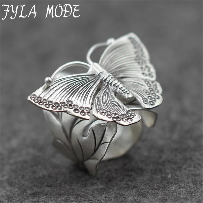 Fyla Mode 12g Genuine 925 Silver Wedding Leaves Butterfly Design Adjustable Antique Thai Silver Finger Rings For Women PKY246