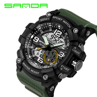 SANDA Design Digital Watch Water Resistant Date Calendar LED Electronics Watches Men Military Army Sport Watch