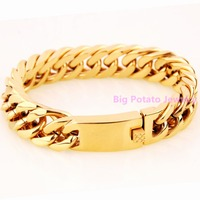 New 22CM*15MM Confidence Men's Boy's Wristband Jewelry 316L Stainless Steel Yellow Gold Cuba Link Chain Bracelet Bangle 95g