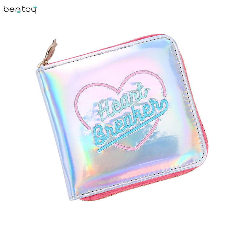 Fashion Korean Square Women Laser Hologram Card Holder Short Wallet Embroidery Moon Night Clutch Coin Purse Pocket Money Wallet