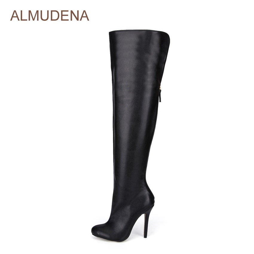 ALMUDENA New Arrival Over-the-knee Sexy Dress Boot Thigh High Boot Extremely High Heel Back Zipper Designer Shoes