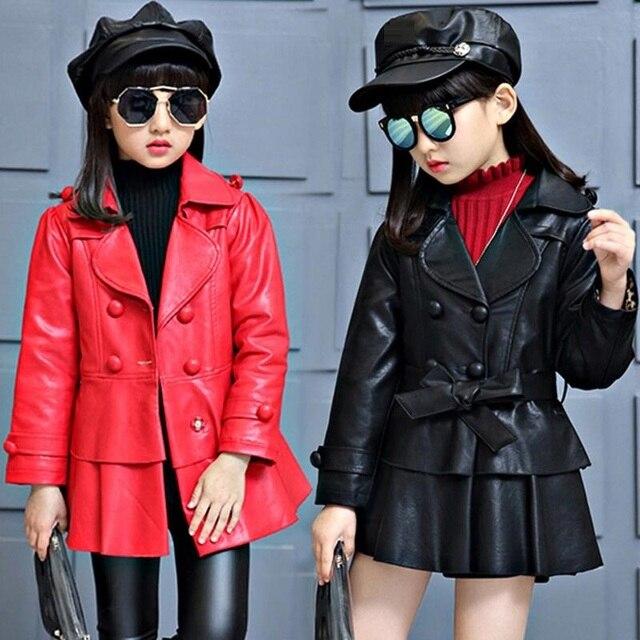 de7e1e058894 3 13Y Fashion 2017 Autumn Long Sleeve Ruffles Double breasted Coat ...