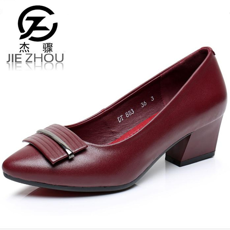 2018 spring new women's shoes Genuine Leather black Crude heel Small code 31 33 Work shoes high heels women pumps Tacones Mujer spring autumn national style crude heel high heels genuine leather large size women shoes anti skid elderly shoes pumps obuv