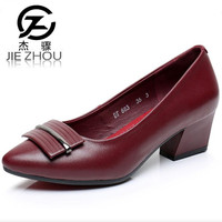 2019 spring new women's shoes Genuine Leather black Crude heel Small code 31 33 Work shoes high heels women pumps Tacones Mujer