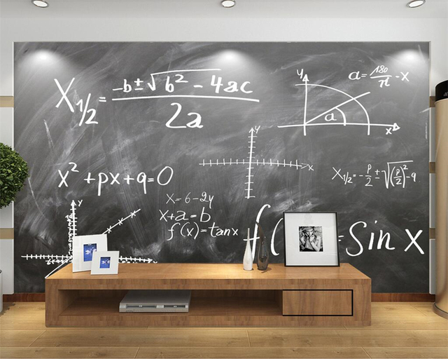 Beibehang Custom Wallpaper Mathematical Formula Chalk Drawing TV Background Wall Living Room Bedroom 3d