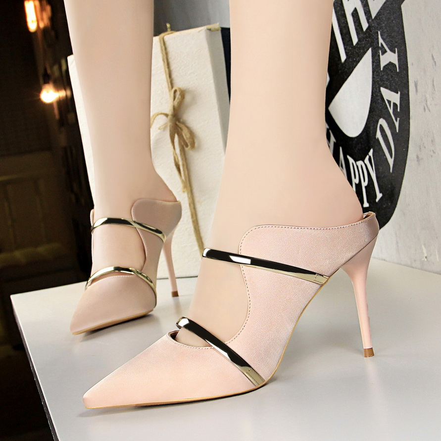 c7800f78e35 Women Pumps Sexy Women High Heel Sandals 2018 Summer Pointed Shallow Ladies High  heeled Slippers Fashion Silk Wedding Party Shoe-in High Heels from Shoes on  ...
