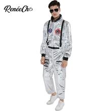 宇宙服男性の大人のプラスサイズ宇宙飛行士衣装シルバーパイロットブレスレットデイ衣装 2019 新着ハロウィン衣装ワンピースジャンプスーツ