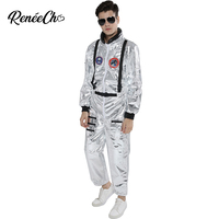 Space Suit For Men Adult Plus Size Astronaut Costume Silver Pilot Costumes 2019 New Arrival Halloween Costume One Piece Jumpsuit