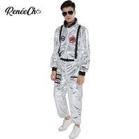 Space Suit For Men Adult Plus Size Astronaut Costume Silver Pilot Costumes 2019 New Arrival Halloween Costume One Piece Jumpsuit