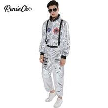 Traje espacial para hombre, disfraz de astronauta de talla grande, trajes de piloto de plata, traje de Halloween, mono de una pieza, novedad de 2019