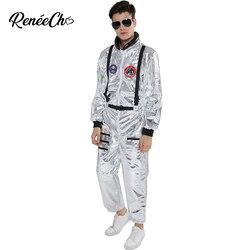 Traje espacial para hombres adulto traje de astronauta de talla grande trajes de piloto plateados 2019 nueva llegada traje de Halloween mono de una pieza