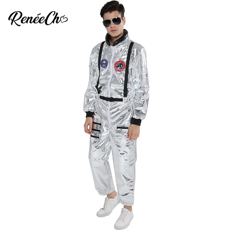Tuta spaziale Per Gli Uomini Adulti Più Il Formato Astronauta Costume Silver Pilot Costumi 2019 Nuovo Arrivo di Halloween Costume di Un Pezzo Della Tuta