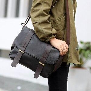 Image 1 - Fashion mens bag PU Leather Shoulder bag men Crossbody Bags For Mens Canvas Business Messenger Bag Men Black Satchels